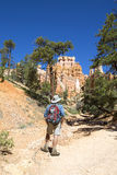 Hiker at Queens Garden trial at Bryce Canyon National Park in Utah Stock Photo