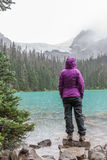 Hiker in Rain at Middle Joffre Lake Royalty Free Stock Images