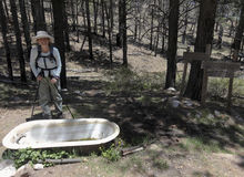 A Hiker Reaches Aptly Named Bathtub Springs Stock Images