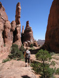 Hiker red rock fiery furnace Stock Images