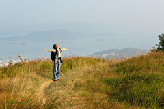 Hiker relax in outdoor Royalty Free Stock Image