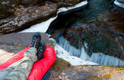 Hiker Relaxing Listing To Stream Royalty Free Stock Photo