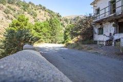 Hiker resting at  abandoned village of La Cebadilla. Las Alpujar Stock Images