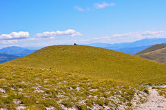 Hiker resting  in Apennines landscapes Royalty Free Stock Images