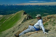 Hiker Resting After Climbing Holland Peak Royalty Free Stock Images