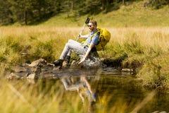 Hiker resting Stock Photos