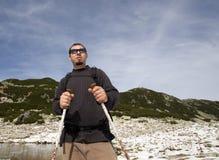 Hiker in Retezat national park Stock Photo