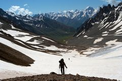 Hiker on a rise Royalty Free Stock Photography