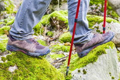 Hiker in rocky area Royalty Free Stock Photos