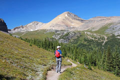 Hiker in the Rocky Mountains - Alberta, Canada stock photo