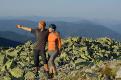 Hiker's couple on top Royalty Free Stock Photos