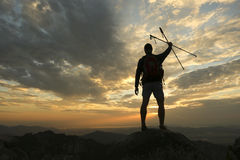 Hiker's Silhouette Royalty Free Stock Photography