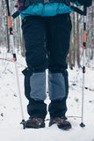 Hiker`s underneath with trekking poles in the winter forest.  stock photo