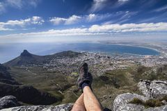 View from table mountain. Hiker`s view of Cape Town from Table Mountain Stock Photography