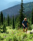 Hiker in the Salmo-Priest Wild royalty free stock image