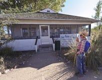 A Hiker at the San Pedro House. Sierra Vista, Arizona - October 30: The San Pedro House on October 30, 2011, east of Sierra Vista, Arizona. The San Pedro stock photo
