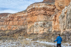 Hiker in sandstone canyon Royalty Free Stock Photography