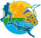 Hiker Scuba Diver Island Tropicbird Flowers Retro Royalty Free Stock Images