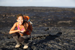 Hiker showing lava on Big Island, Hawaii. Hiker showing fresh cooled lava from Kilauea volcano around Hawaii volcanoes national park, Big Island, Hawaii, USA Stock Photography