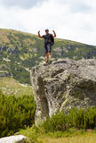 Hiker showing thumbs up Stock Photo