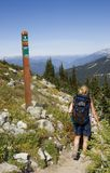 Hiker by signpost on trail Stock Image