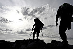 Hiker silhouette Stock Photos