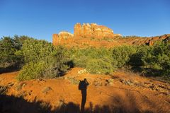 Hiker Silhouette Shadow and Cathedral Rock Sunset Landscape Sedona Arizona Royalty Free Stock Photos