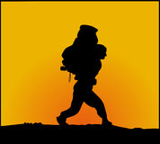 Hiker. Silhouette of walking hiker with huge pack stock illustration