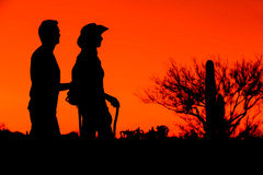 Hiker Silhouettes Stock Photos