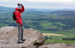 A hiker at Simonside Hills near Rothbury Stock Photography