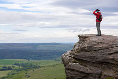 A hiker at Simonside Hills near Rothbury Stock Images