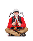 Hiker sitting with ice axe Royalty Free Stock Image