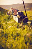 Hiker sleeping on bench sunset Royalty Free Stock Photo