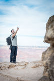 The hiker with smarthphone Stock Photos
