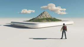 Hiker and a smartphone. With a 3d  mountain on the touch screen. This is a 3d render illustration Royalty Free Stock Photo