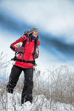 Hiker on the snow Royalty Free Stock Images