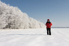 Hiker on the snow Stock Photos