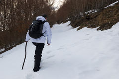 Hiker and snow Stock Photography