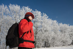 Hiker on the snowh Stock Photos