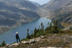 Hiker Standing Above Ring Lake 3. Male hiker standing above Ring Lake. Callaghan Valley. British Columbia Royalty Free Stock Images