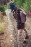 Hiker standing on path Stock Photos