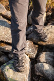 Hiker standing on rocks Royalty Free Stock Images