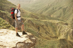 Hiker Standing On Top Of Mountain Royalty Free Stock Photos