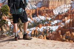 Hiker stands at Bryce Canyon overlook stock image