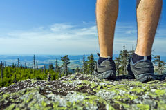 Hiker on summit Royalty Free Stock Photos