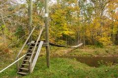 Hiker Suspension Bridge Royalty Free Stock Image