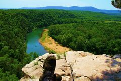 Hiker Taking in a Relaxing View Stock Photography