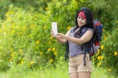 Hiker taking selfie photo Stock Photos