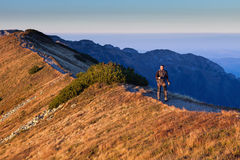 Hiker in Tatras Mountains Royalty Free Stock Photography