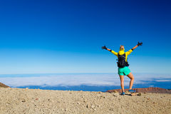 Hiker in Teide Mountain on Tenerife Island, Spain Stock Images